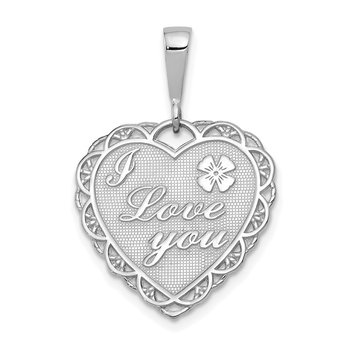 14k White Gold Polished Reversible I LOVE YOU Heart Pendant