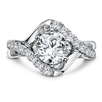 Diamond Engagement Ring With Side Stones in 14K White Gold with Platinum Head (1-1/2ct. tw.)