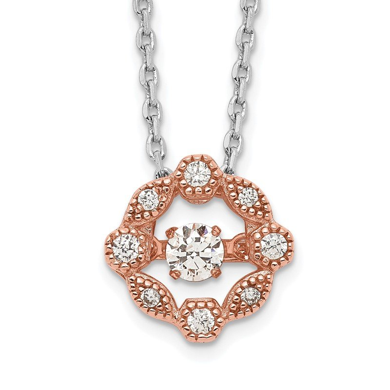 Quality Gold Sterling Silver Rhod-plated Rose-tone Vibrant CZ 2/in ext Necklace