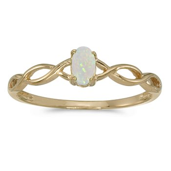 10k Yellow Gold Oval Opal Ring