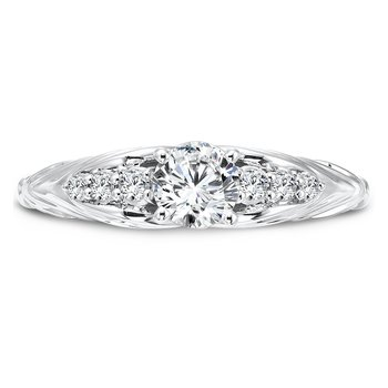 Inspired Vintage Collection Engagement Ring With Side Stones in 14K White Gold with Platinum Head (1/2ct. tw.)