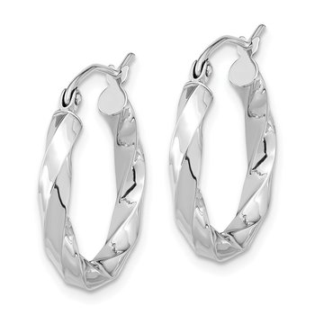 10k White Gold 3mm Twisted Hoop Earrings