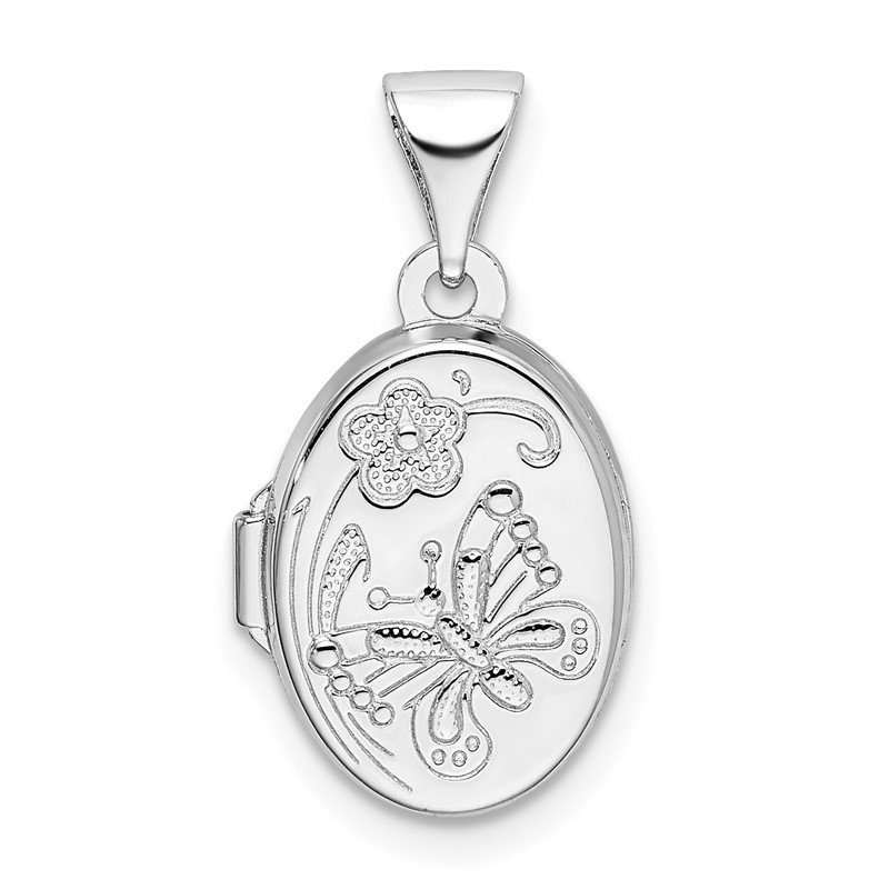 Quality Gold Sterling Silver Rhodium-plated Floral Butterfly Oval Locket