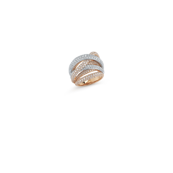 18KT GOLD DIAMOND WAVE CROSSOVER RING