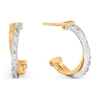 Goa Pave Diamond Crossover Hoop Earrings