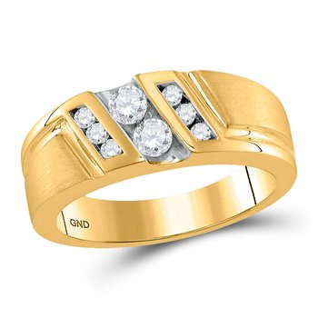 10kt Yellow Gold Mens Round Diamond Diagonal 2-stone Band Ring 1/2 Cttw