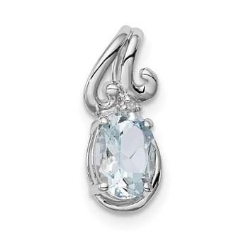Sterling Silver Rhodium Plated Dia. & Aquamarine Oval Pendant