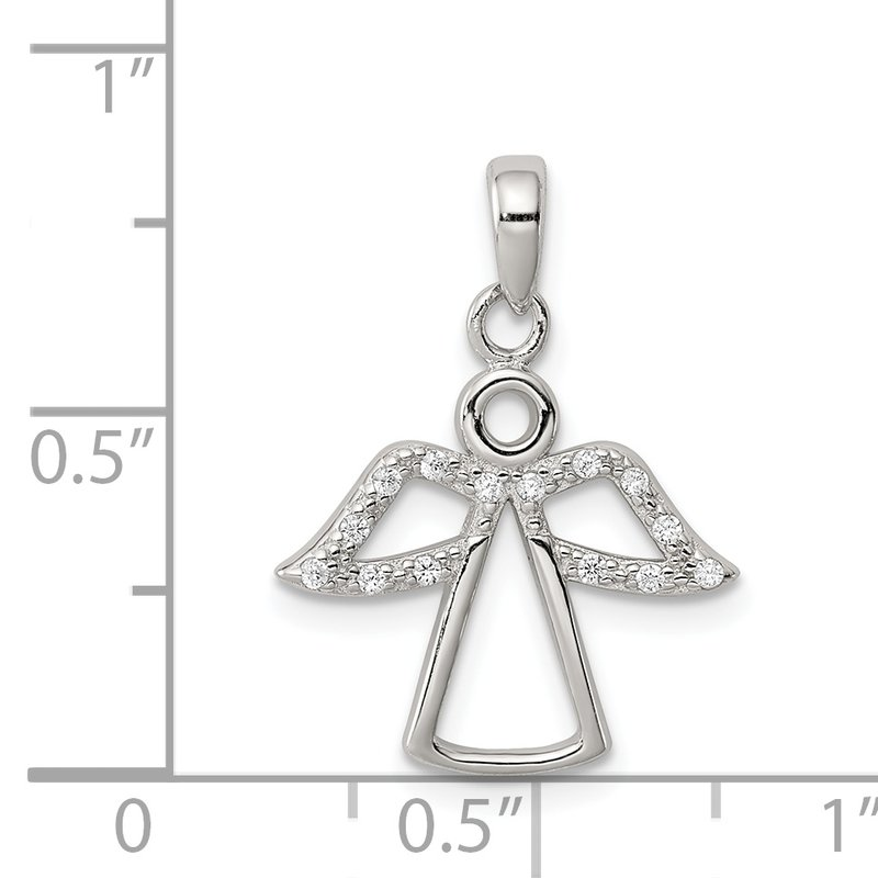 Quality Gold Sterling Silver Angel w/ CZ Wings Pendant