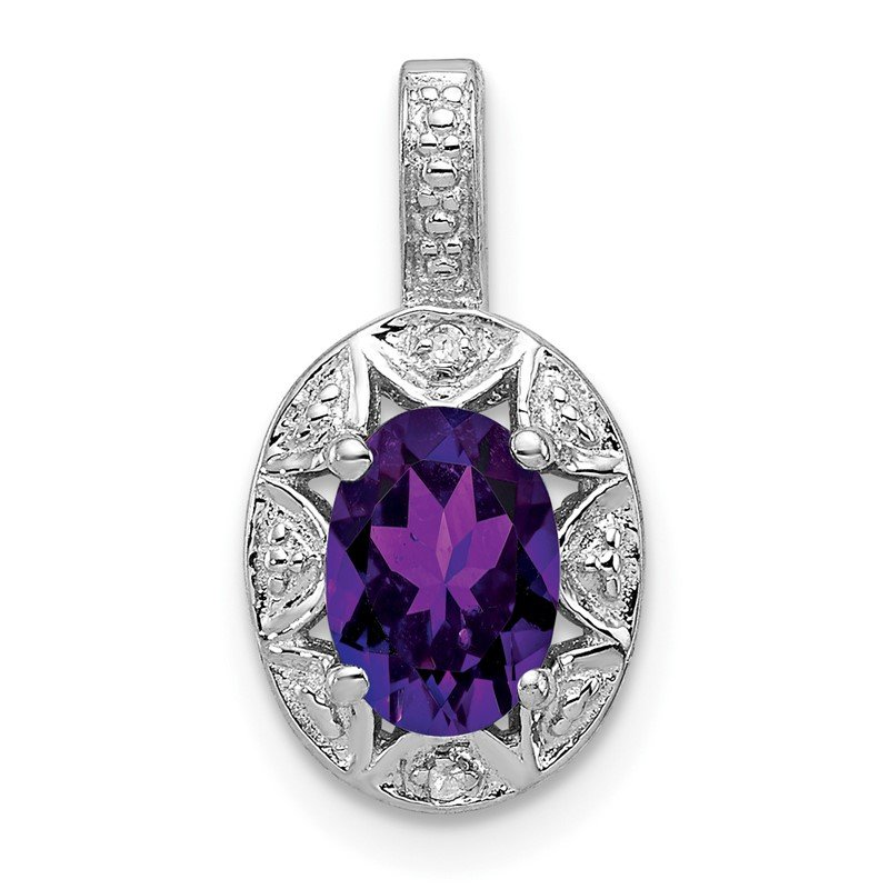 Quality Gold Sterling Silver Rhodium-plated Diam. & Amethyst Pendant