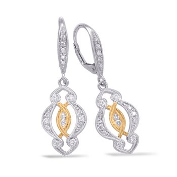 White & Yellow Gold Earring