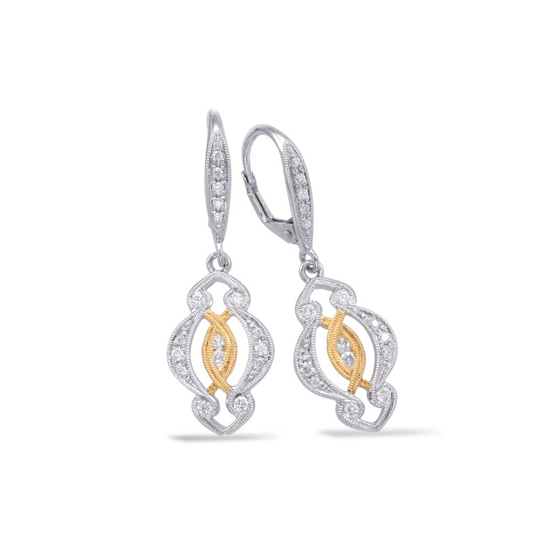 S. Kashi  & Sons White & Yellow Gold Earring