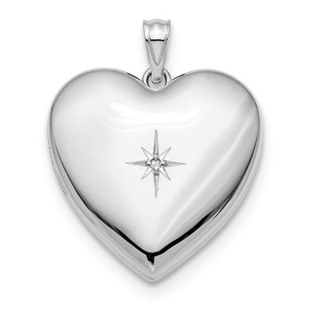 Sterling Silver Rhod-plated 24mm w/ Diamond Star Ash Holder Heart Locket