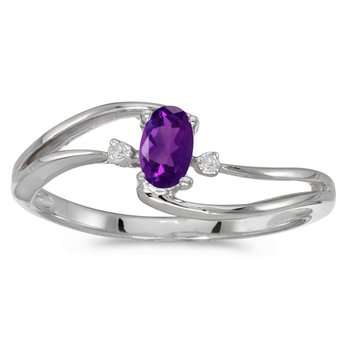 14k White Gold Oval Amethyst And Diamond Wave Ring