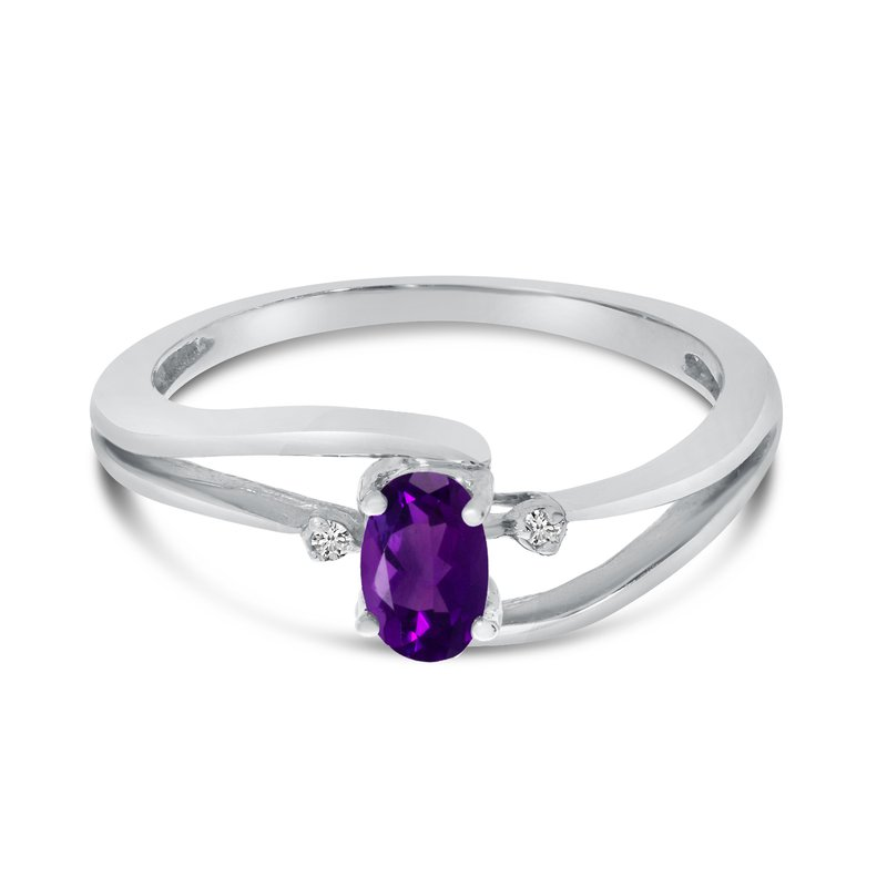 Color Merchants 14k White Gold Oval Amethyst And Diamond Wave Ring
