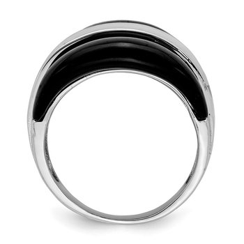 Sterling Silver Band w/ Surrounding Onyx Bands Ring