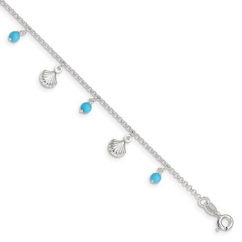 Sterling Silver Polished Shell and Turquoise 9in Plus 1in Ext. Anklet