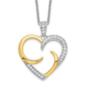 Sterling Silver & Gold-plated The Arms of Love 18in Heart Necklace
