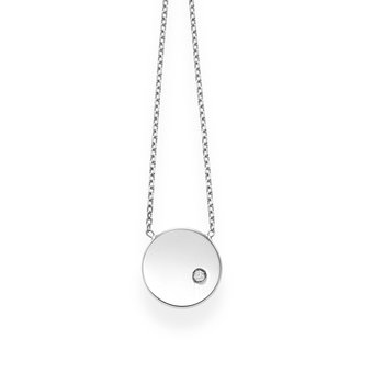 14K Gold Polished SOHO Disc Diamond Necklace