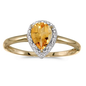 14k Yellow Gold Pear Citrine And Diamond Ring