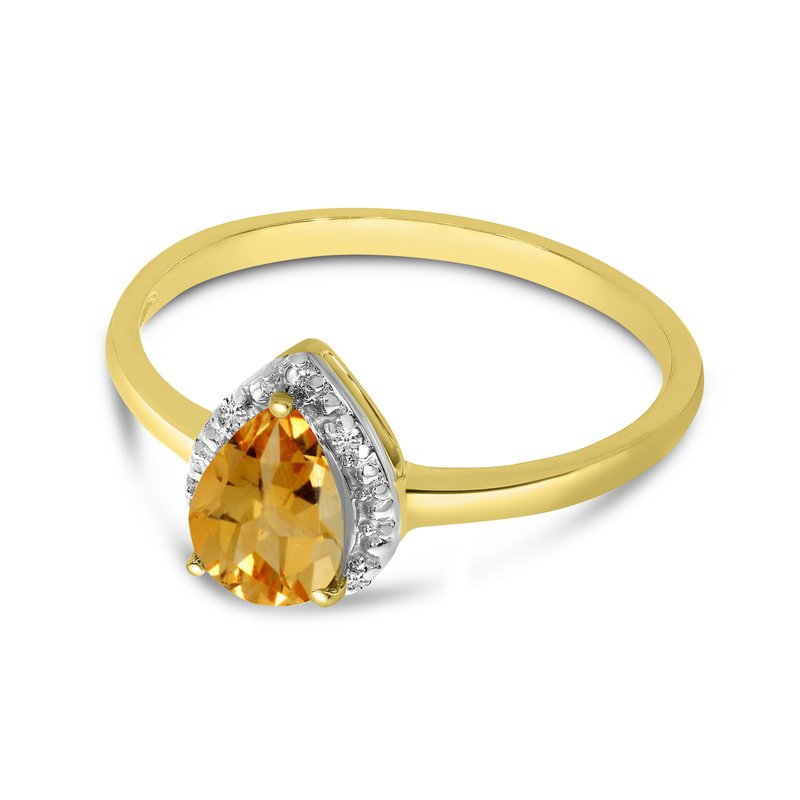 Color Merchants 14k Yellow Gold Pear Citrine And Diamond Ring