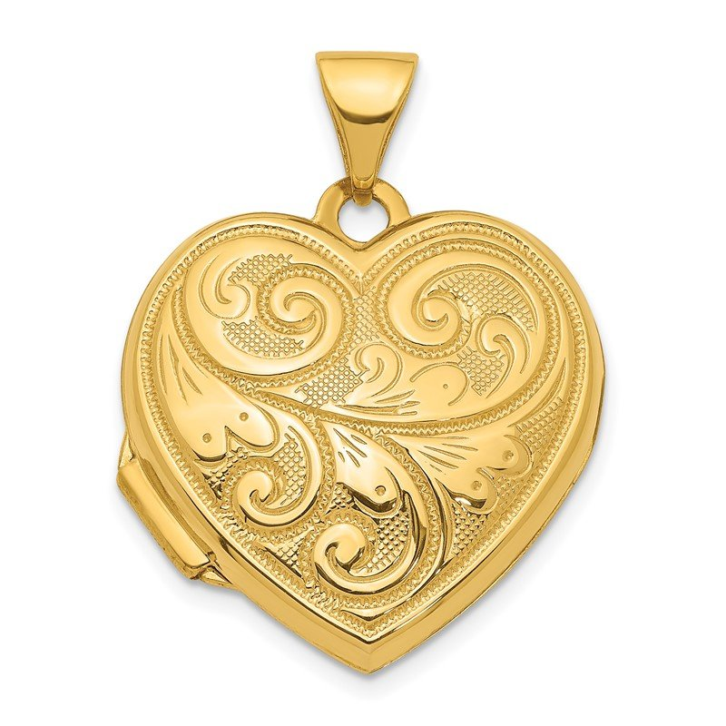 Quality Gold 14ky 19mm Scroll Design Reversible Heart Locket Pendant