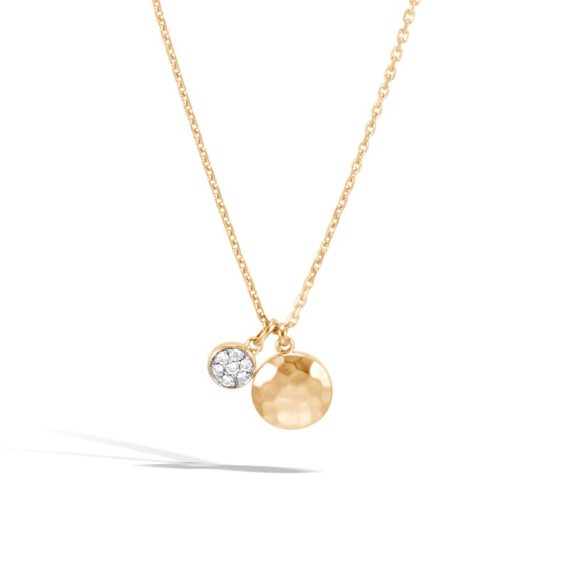 JOHN HARDY Dot Pendant Necklace in Hammered 18K Gold with Diamonds