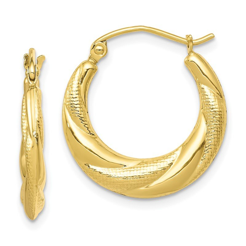 Quality Gold 10K Textured Scalloped Hollow Hoop Earrings