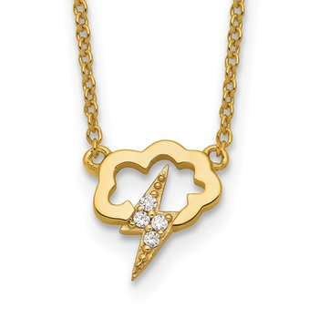 Sterling Silver Gold-tone CZ Storm Cloud w/2in ext Necklace