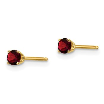 14k 3mm January/Garnet Post Earrings