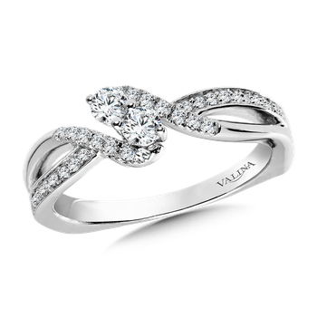Two-Stone Diamond Engagement Ring Moutning in 14K White Gold (.30 ct. tw.)