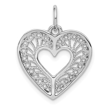 14k White Gold Solid Diamond-cut Fancy Filigree Heart Charm