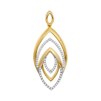 10kt Yellow Gold Womens Round Diamond Geometric Oval Pendant 1/5 Cttw