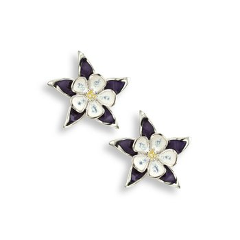 Purple Columbine Stud Earrings.Sterling Silver