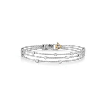 Grey Cable Triple Strand Bracelet with 18kt White Gold & Diamonds