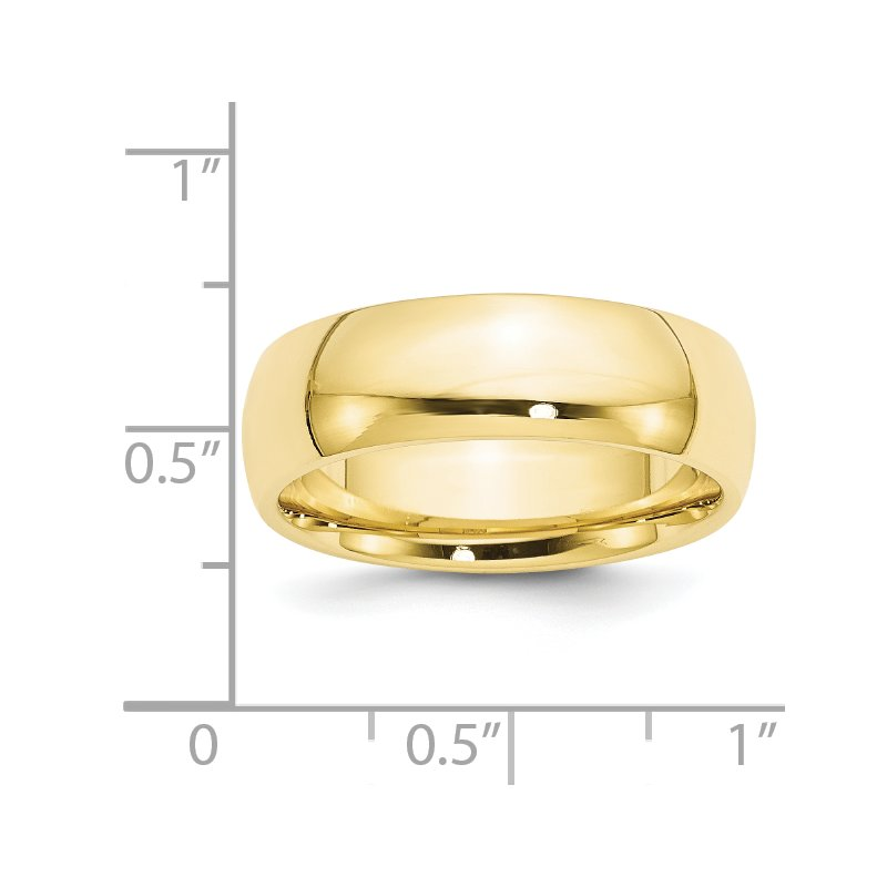 Quality Gold 10KY 7mm Standard Comfort Fit Band Size 10
