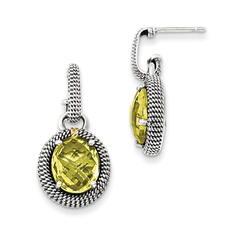 Shey Couture Sterling Silver w/14k Antiqued Lemon Quartz Post Dangle Earrings