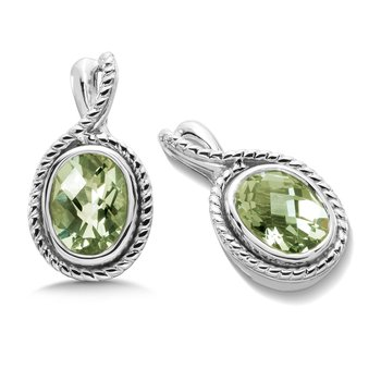 Sterling Silver & Green Amethyst Earrings