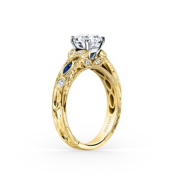 Sapphire Diamond Engraved Engagement Ring