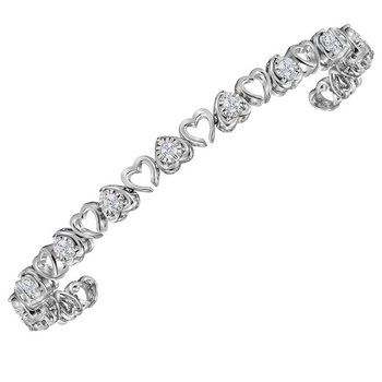 Sterling Silver Womens Round Diamond Heart Love Bracelet 1.00 Cttw