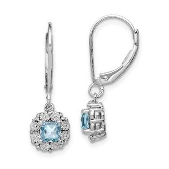 Sterling Silver Rhodium-plated Light Swiss Blue Topaz Diamond Earrings