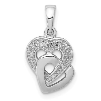 Sterling Silver Rhodium Diam. Accent Heart Pendant