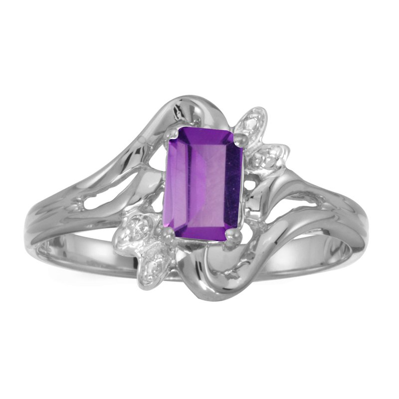 Color Merchants 14k White Gold Emerald-cut Amethyst And Diamond Ring