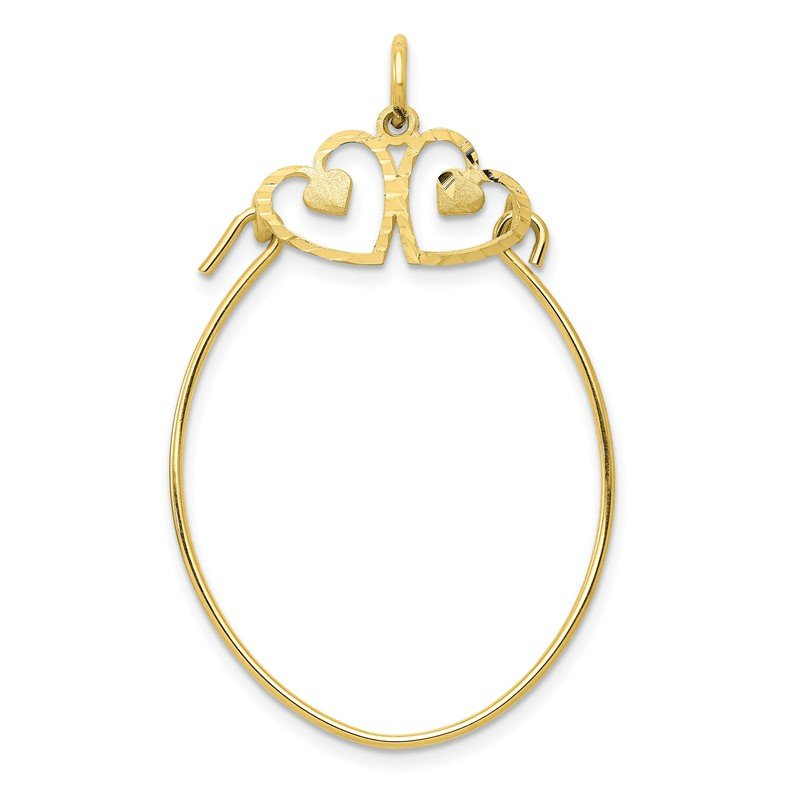Quality Gold 10k Double Heart Charm Holder