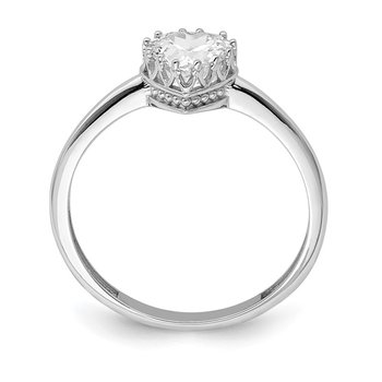 10k Tiara Collection White Gold Polished Heart CZ Ring