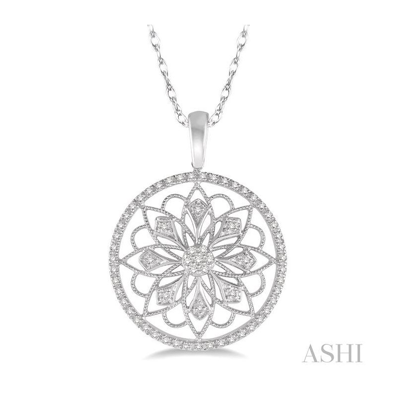 ASHI circle floral diamond pendant