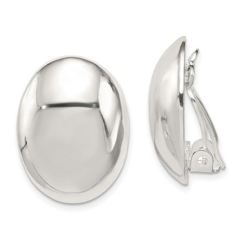 Sterling Silver Oval Non-Pierced Earrings