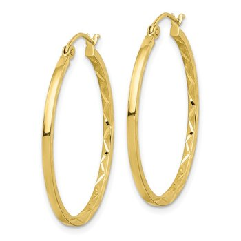 10K 1.5x30mm Diamond Cut Hoop Earrings