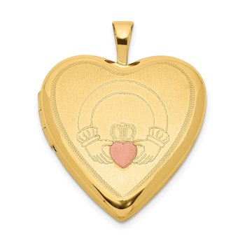 Sterling Silver Gold-plated 20mm Claddagh Enameled Heart Locket