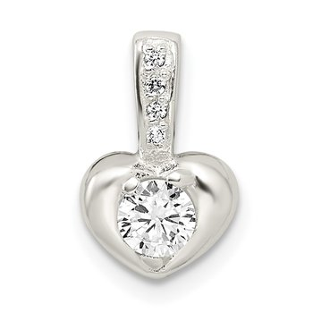 Sterling Silver Polished w/CZ Heart Pendant
