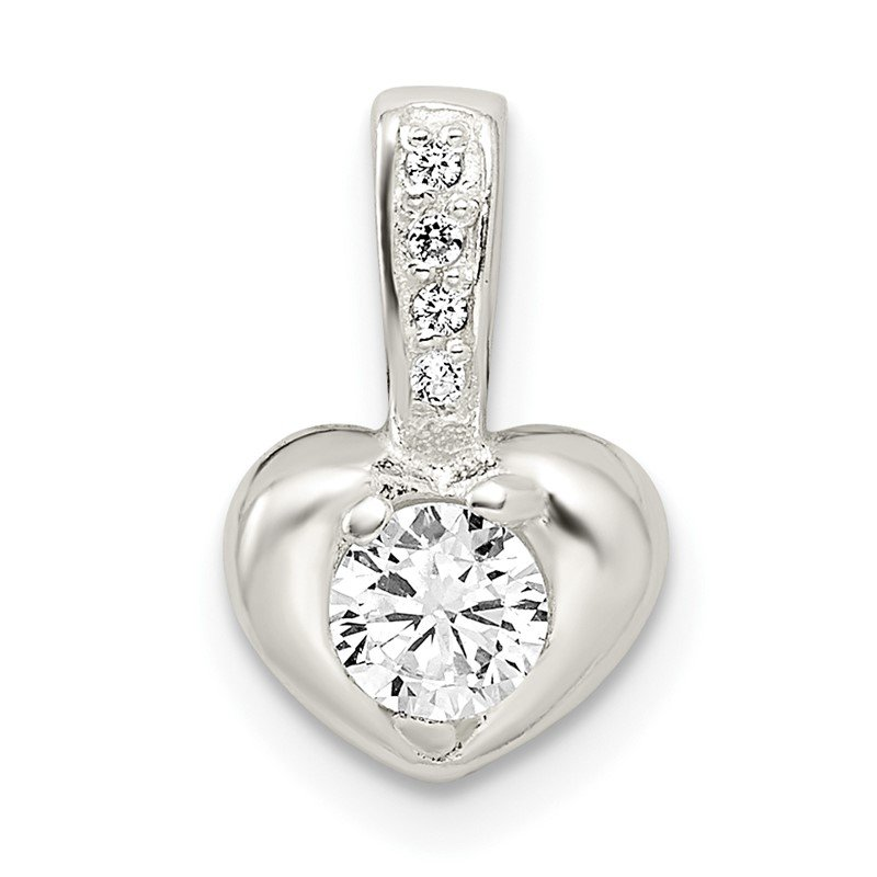 Quality Gold Sterling Silver Polished w/CZ Heart Pendant